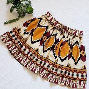 Aztec Print Flowy Mini Skirt